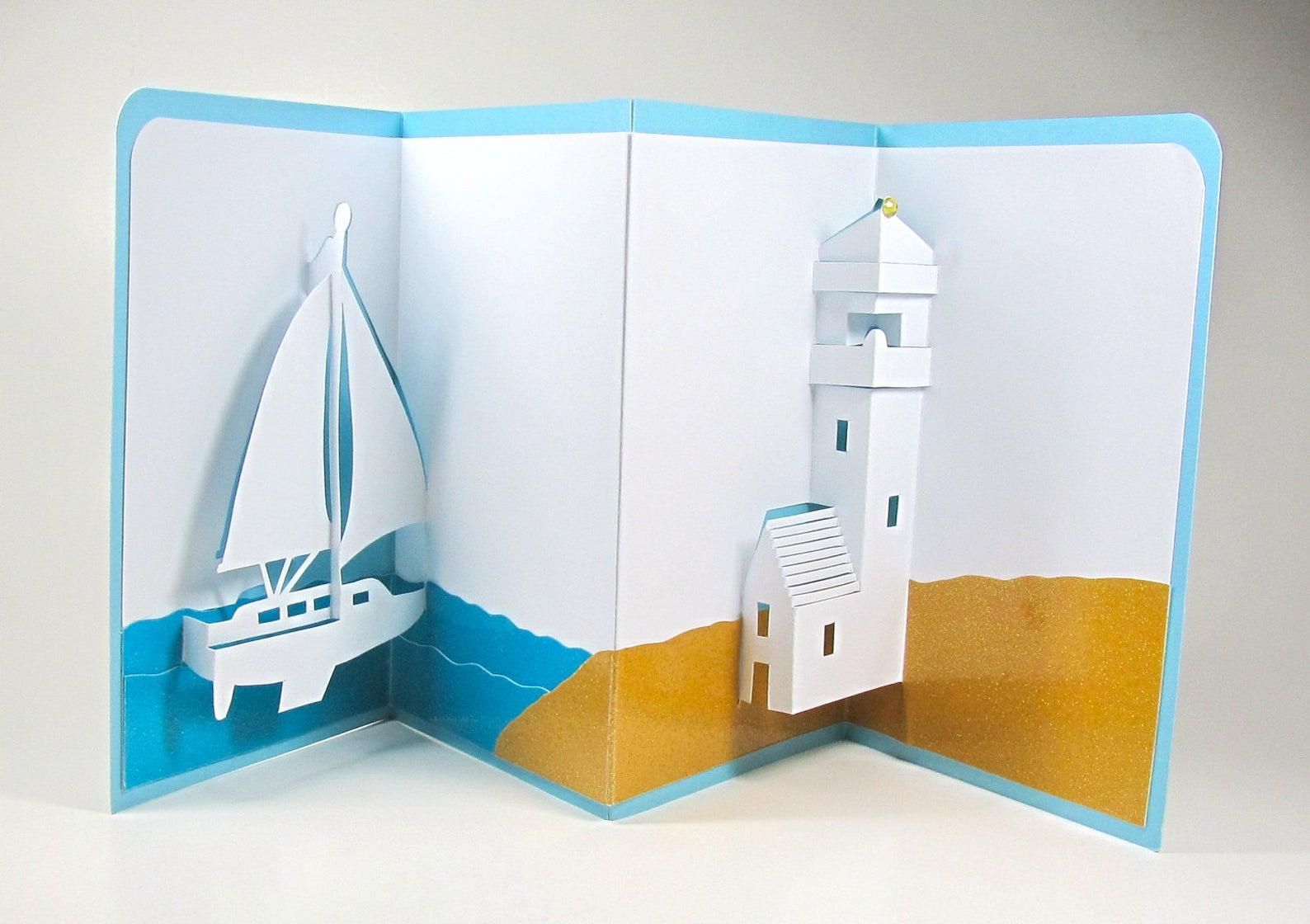 Объемная открытка с кораблем