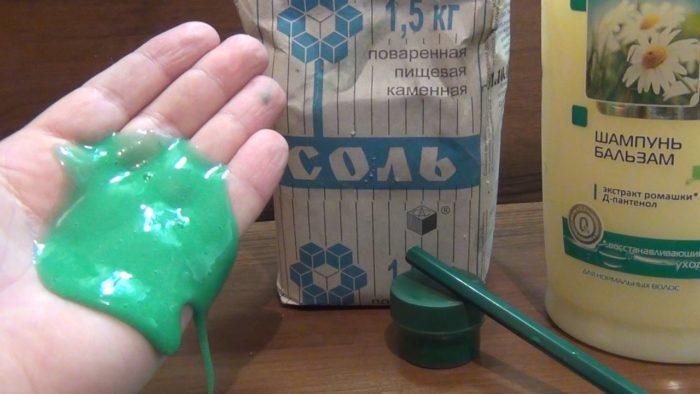 Слайм из шампуня и соли