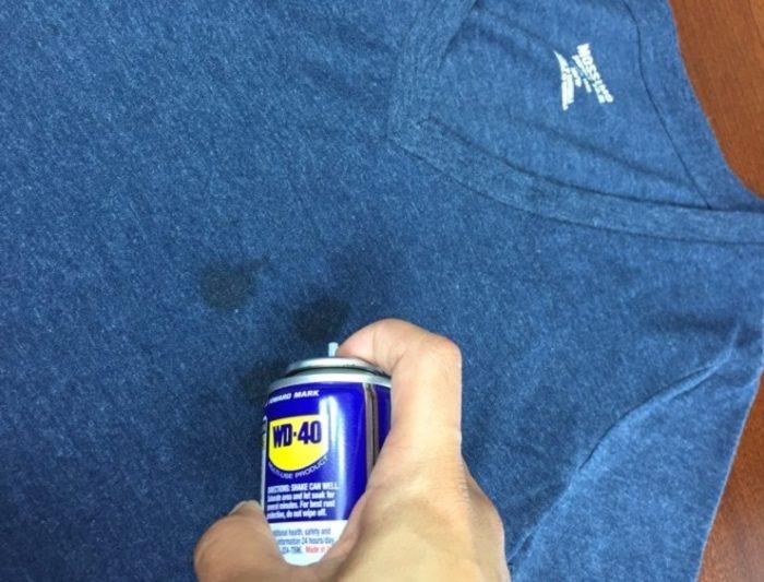 убираем чернила с одежды с ВД 40