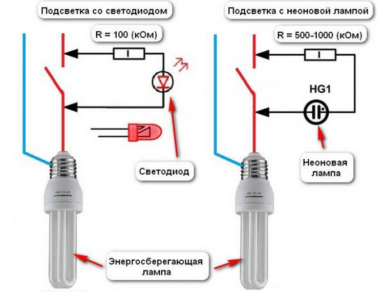 Подключение выключателя со световым индикатором