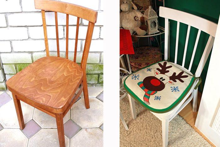 Как обновить старый стул - окрашивание