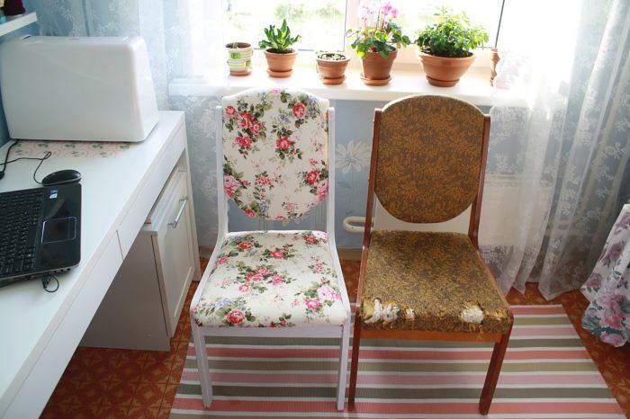 Как обновить старый стул - окрашивание и перетяжка мягких элементов