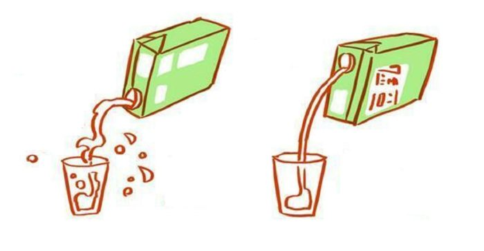 наливаем правильно сок из пакета