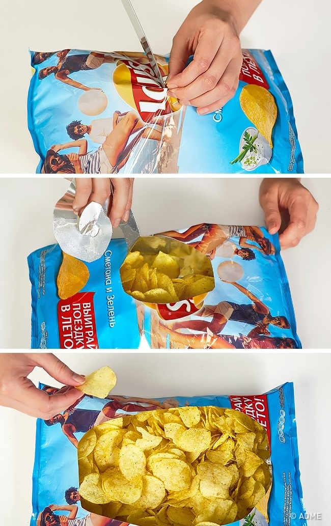 как правильно открыть пачку чипс