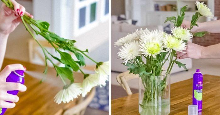 лак для волос на букет цветов