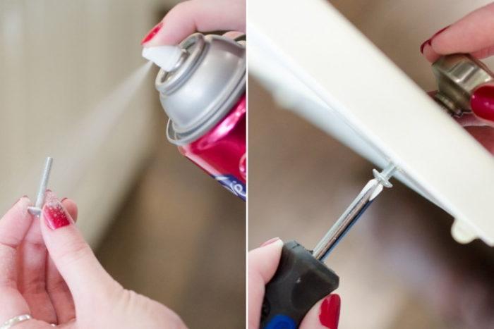закрепление мелких предметов лаком для волос
