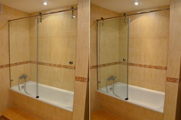 стеклянный экран в ванной